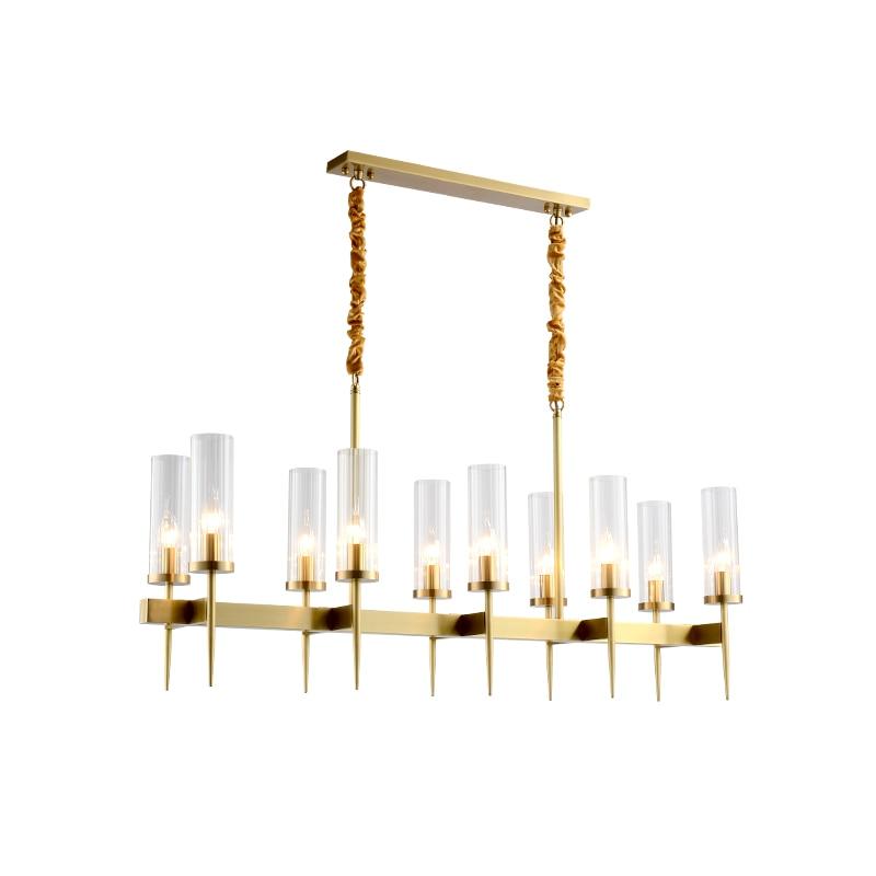 Américain Villa RH salle à manger Edison E27 pendentif Led lumières plaque droite or métal Lustre Luminarias Led tige suspension lampe