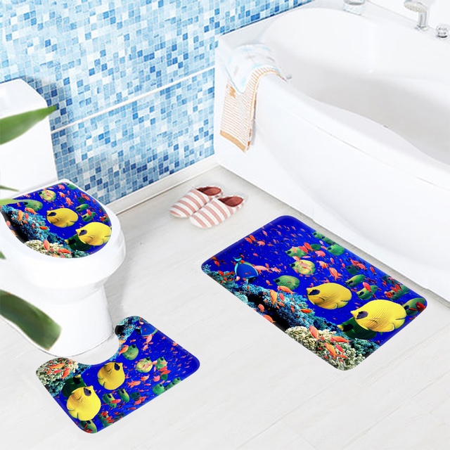 3pcs Bathroom Rug Sets Animated Fish Tank Ocean Tropical Pattern Bath Mat Anti Slip Shower