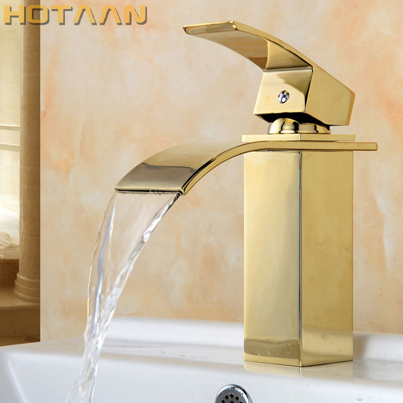 Free Shipping Waterfall Square Bathroom Basin Faucet Gold Finish Brass Mixer Tap with ceramic torneiras para banheiro YT-5071