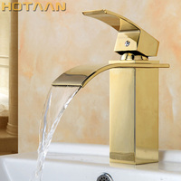 Free Shipping Waterfall Square Bathroom Basin Faucet Gold Finish Brass Mixer Tap with ceramic torneiras para banheiro YT 5071
