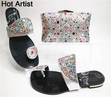 Hot Artist 2017 Italian Style Rhinestone Shoes With Purse Bag For Party African Woman Low Heels