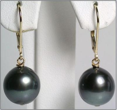 beautiful AAA 10-11mm Black South Sea Pearl Dangle Earrings
