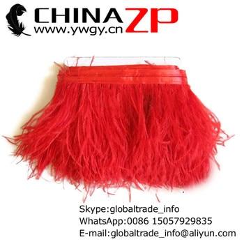 CHINAZP fábrica barata venta al por mayor 20 yardas/lote exportación calidad teñido rojo avestruz flecos recorte