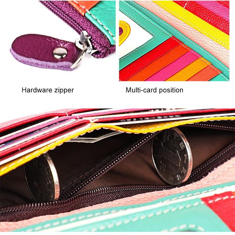 Image 4 - 女性本革財布カラフルな女性ロングリアルレザークラッチ財布女性ジッパー電話コイン財布札入れ女性のバッグ財布   -