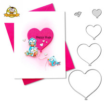 4Pcs Heart Metal Cutting Dies Scrapbooking Stencil Letters For Card Making Paper Craft Handmade Album