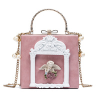 3D angel relief tote bags for Lady Wedding Clutch Bolsas Luxury Designer Baroque styles women handbag pearl chain shoulder bags