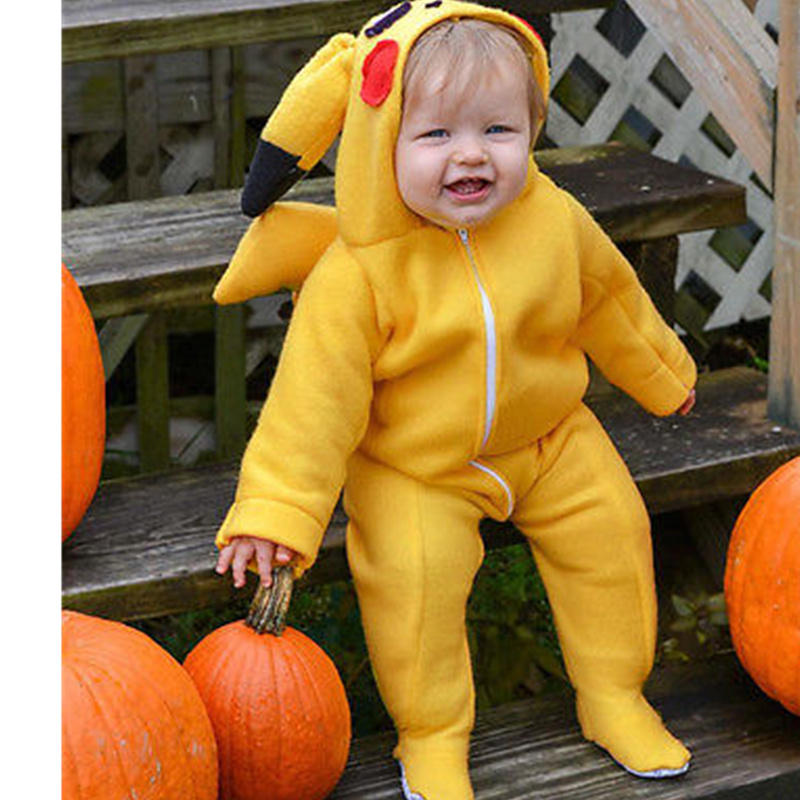 Pokemon Pikachu Hooded Long Sleeve Soft Cotton Rompers Jumpsuit Outfits Costume Autumn Cosplay Warm Cute Newborn Baby Girl Boy warm thicken baby rompers long sleeve organic cotton autumn