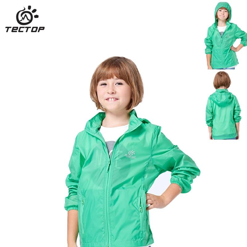 TECTOP Summer Boy Girl Quick Dry Hooded Jacket Student Waterproof Windbreaker Jacket Unisex Sport Coat Underarm
