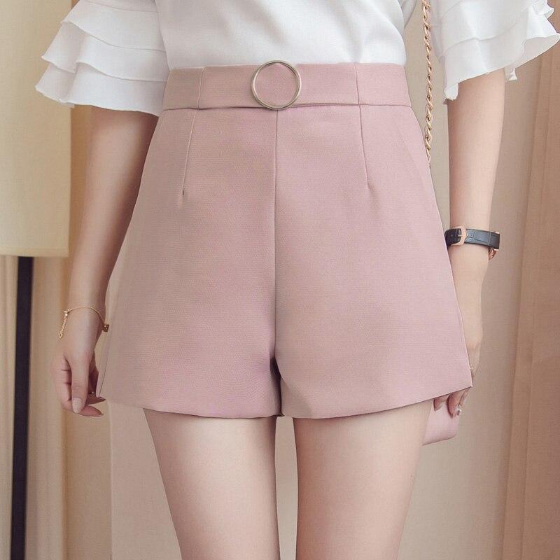 2019 Summer Wide Leg Shorts Women Casual Short Trousers Women's Slim High Waist Shorts Solid Pink White Ladies Short Feminino