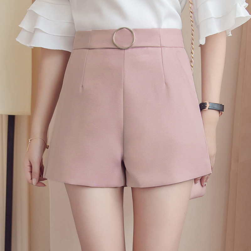 2019 Summer Wide Leg   Shorts   Women Casual   Short   Trousers Women's Slim High Waist   Shorts   Solid Pink White Ladies   Short   Feminino