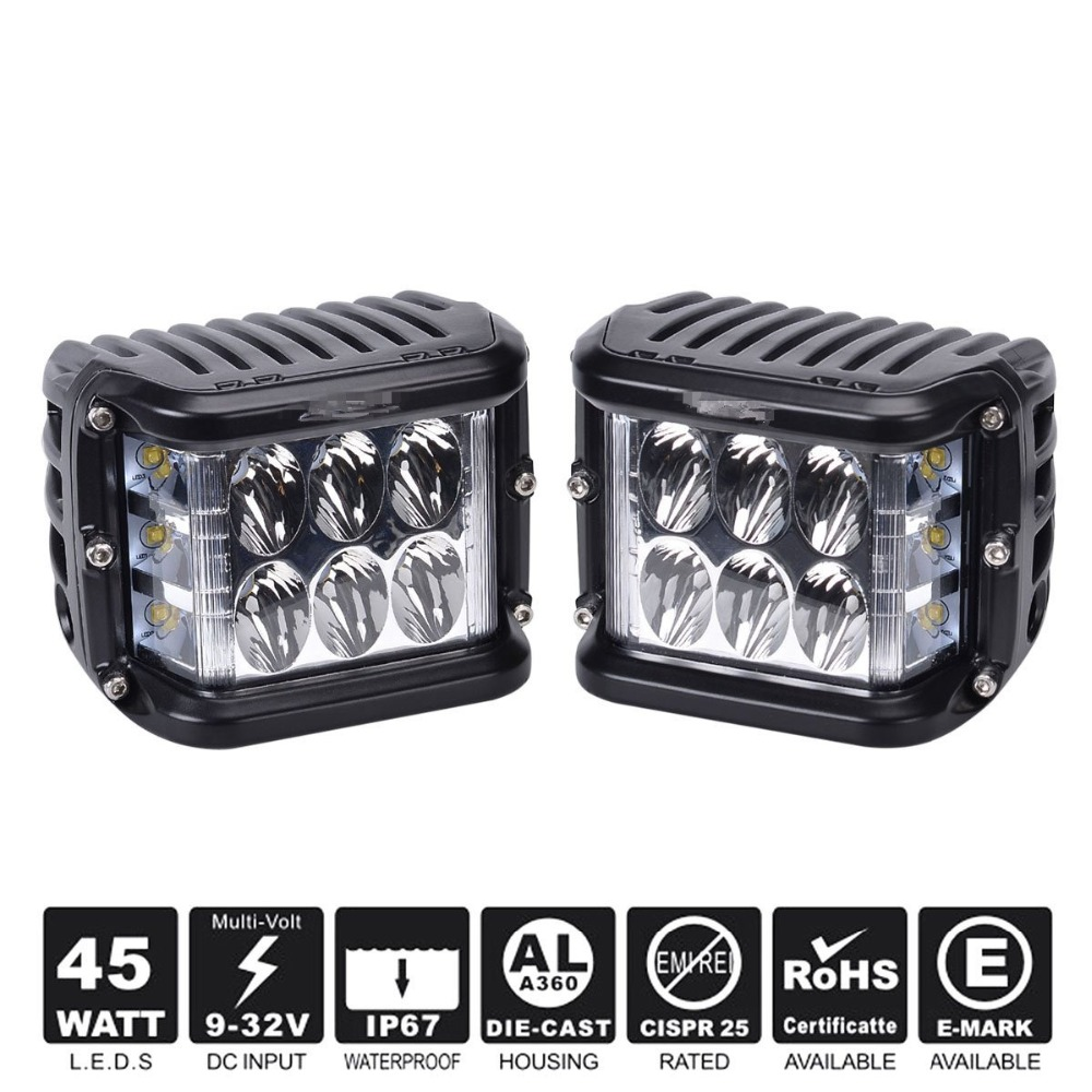 Dual Dise Shooter LED Cube 45W Led Work Light Off Road LED light Dricing Light Super Bright For SUV Truck Car ATVs 2016 new super bright 50w 12 inch 9 led car off road lamp 9 32v ip68 automobile truck work light fog driving light energy saving