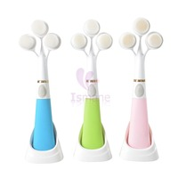 Register Free Shipping Gift Idea 1pcs 3D 3 Heads Ultrasonic Facial Cleaning Machine Electric Wash Brush