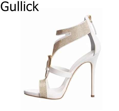 c7b20c0952d51 Hottest Elegant White Golden Crystal Decoration Buckle Gladiator Sandals  Women Back Zipper High Heel Summer Sandals