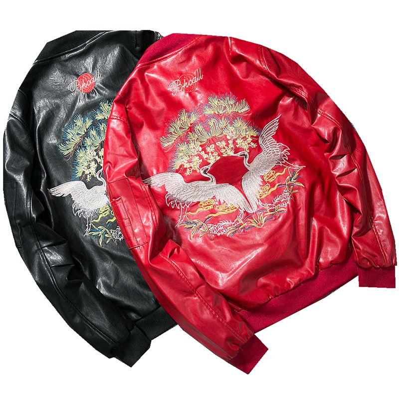 zozowang Luxury Crane Embroidery Leather Bomber Jacket Men Spring Autumn Baseball Uniform Scholar Motorcycle Leather Coat