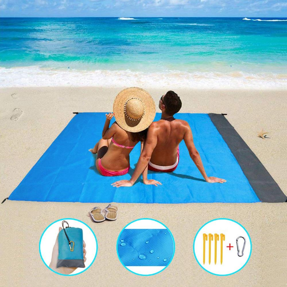 2*2M Pocket Beach Mat Picnic Tent Bedding Folding-Cover  Blanket Camping Sand-Free Waterproof Beach Mat Blanket OutdoPicnic Mat