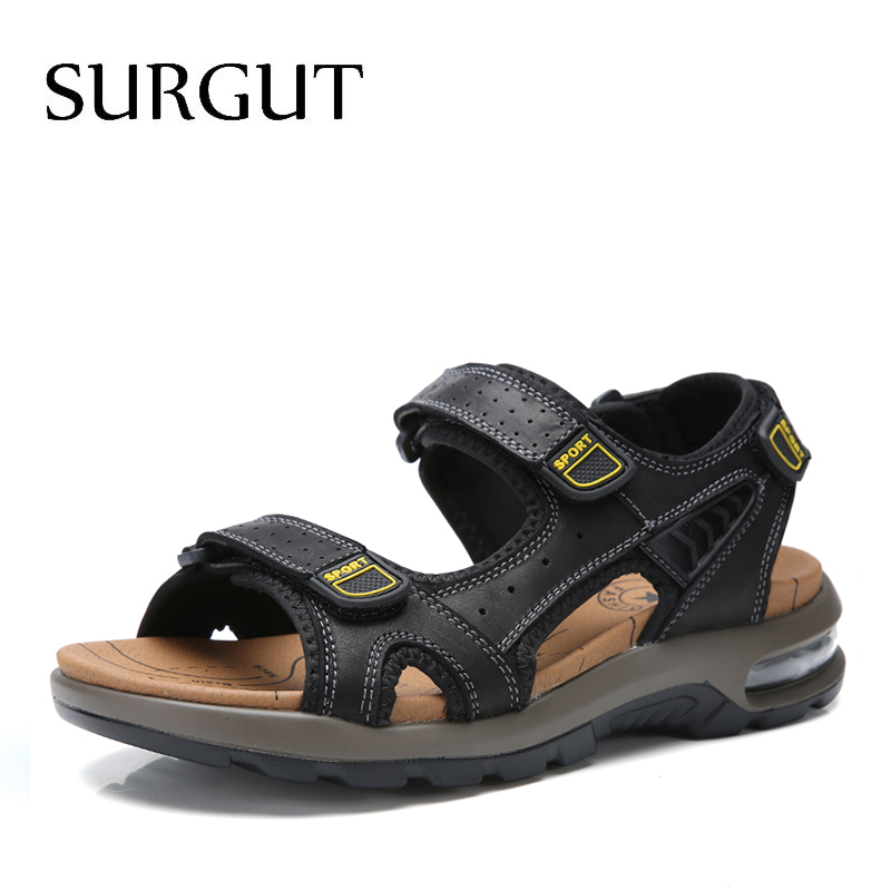 SURGUT Men Genuine Leather Sandals High Quality Large Size Men Beach Sandals Fashion Air Cushion Sandals Breathable Shoes Men