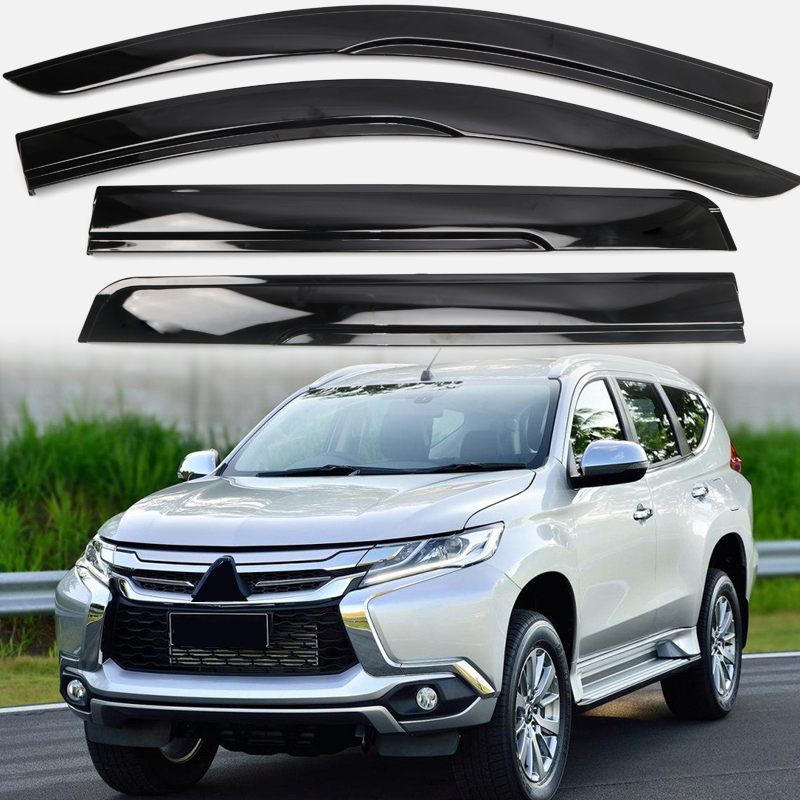 For Mitsubishi Pajero Montero Shogun Sport 2016 2017 2018 Car Window Visor Vent Shade Rain/Sun/Wind Guard Cover Deflector Trim 2015 2017 car wind deflector awnings shelters for hilux vigo revo black window deflector guard rain shield fit for hilux revo