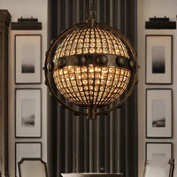 Loft Vintage Crystal Globe Chandelier Metal K9 Crystal Cafe Bar Hotel Store Restaurant French Country Droplight Fixture