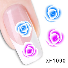 waterproof Water Transfer Nails Art Sticker Beautiful flower design girl and women manicure tools Nail Wraps Decals XF1090