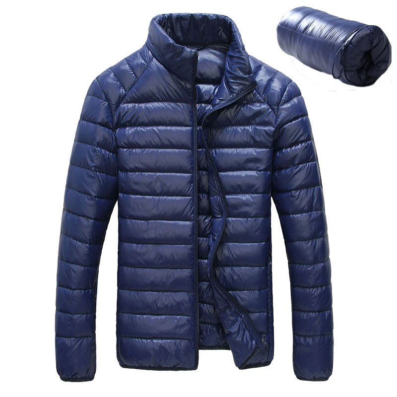 Snowka Winter Jacket Men Famous Brand-clothing 2017 Down Parka Stand Collar Ultra-light Down Jacket men Casual blue color Coat