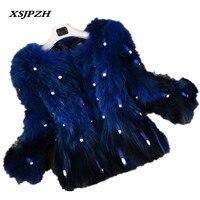 2018 Новый Для женщин зимние натуральный мех пальто косу волосы короткие внешний толстые теплые замшевые кожаные Трава куртка LB187