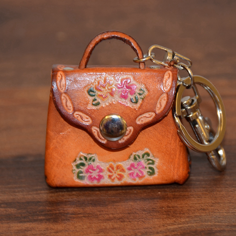 Made Hand-Painted Cartoon Mini Handbag Mini Toothpick Tube Leather Model Hard Tanned Cowhide Car Key Button Creative Gift