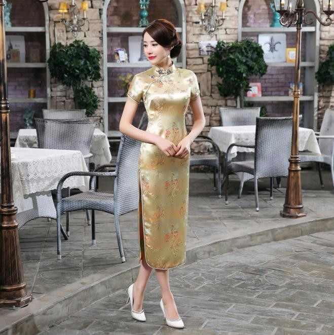 ブルゴーニュサテン袍夏レディー伝統的な中国スタイルのチャイナドレス女性半袖ロング袍ドレスプラスサイズs-6xl