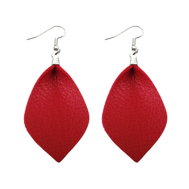 Zwpon Silver Leather Leaf Earrings For Women Trendy Spring Red Earring 2018 Hot Ing