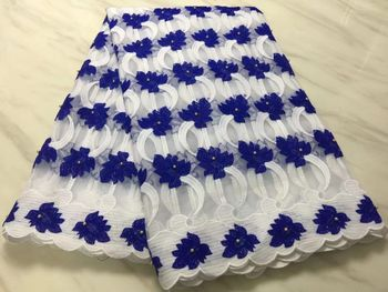 5Yards/pc New fashion white french net lace and blue flower embroidery african mesh lace fabric with beads for dress BN107-7