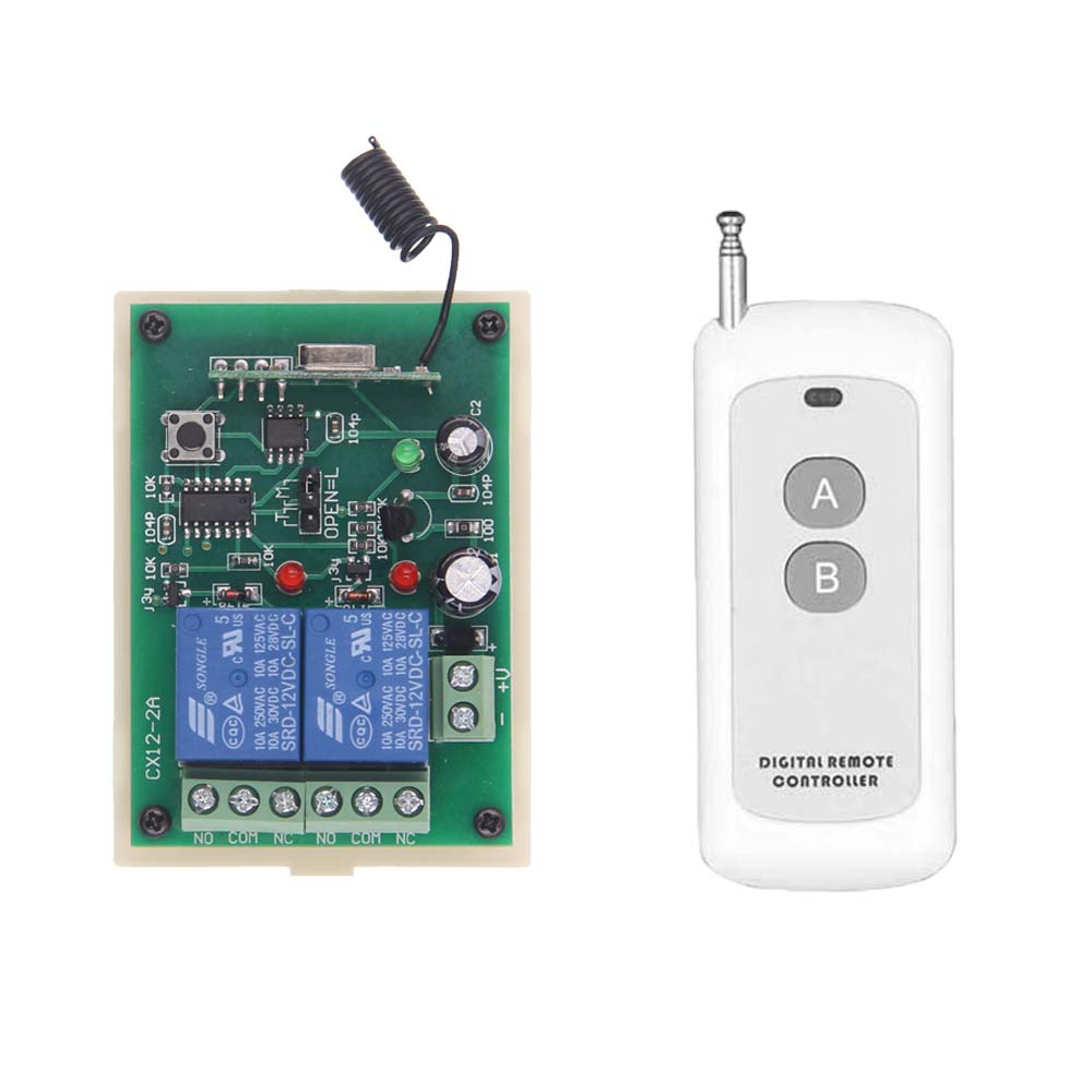 500m Smart Home Remote Control DC 12V 24V 2 CH Relay Contact Wireless Switch 2CH Learning Independently RF Receiver 315/433 MHz500m Smart Home Remote Control DC 12V 24V 2 CH Relay Contact Wireless Switch 2CH Learning Independently RF Receiver 315/433 MHz