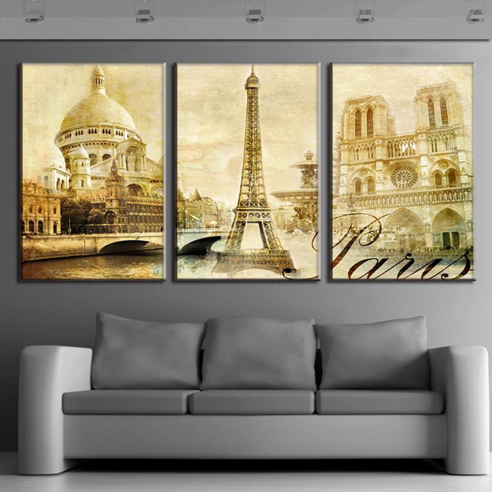 2017 3 Pcs/Set Framed Oil Painting On Canvas Scenic Spot Of Paris ...