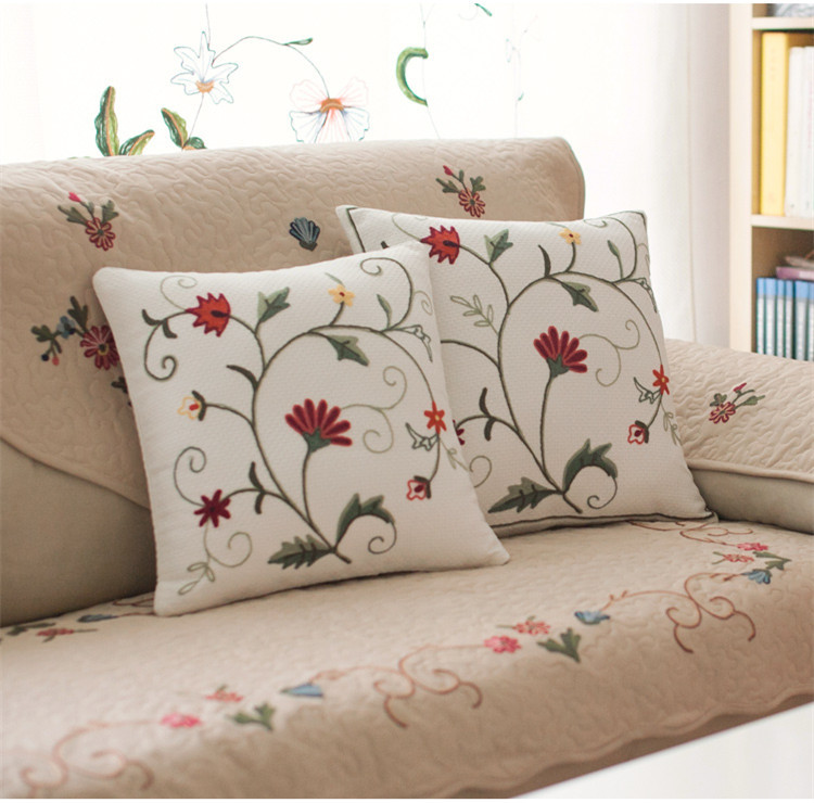 Handmade emroidered flowers and grass sofa back cushion for Sofa back cushion covers