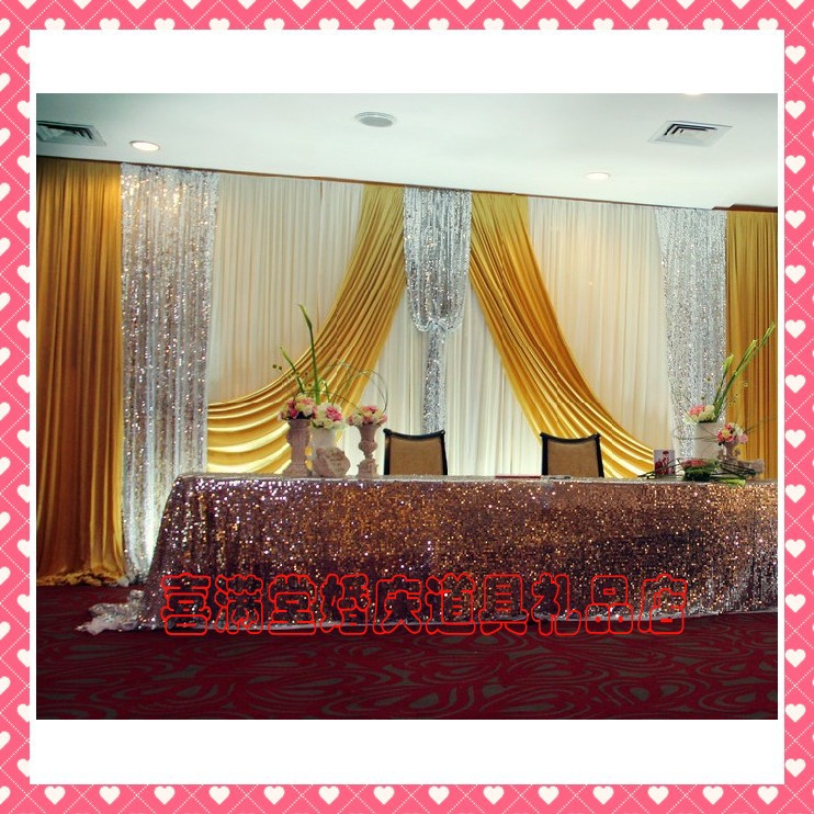 10ft high x 20ft New Design Wedding Backdrop  Stage Curtain white and gold with shiny sequin