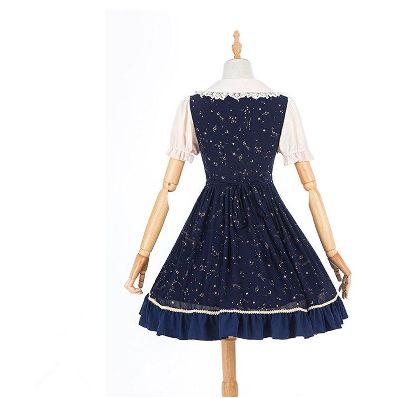 Blue Faldas Courtes Longueur Style Dame Dark Peter Doux Genou Robes Pan Dentelle Manches Arc Lolita Empire D'été Col Robe Rétro Jsk RwCPPTq