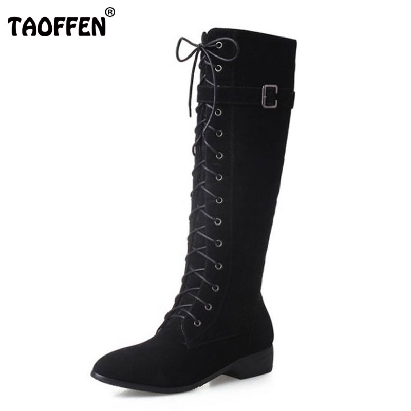 TAOFFEN Fashion Woman Round Toe Flat Knee Boots Women Stylish Lace Up Knight Boot Ladies Suede Leather Shoes Footwear Size 33-43 women ankle boots full grain leather flat heel round toe lace up fashion woman new stylish shoes