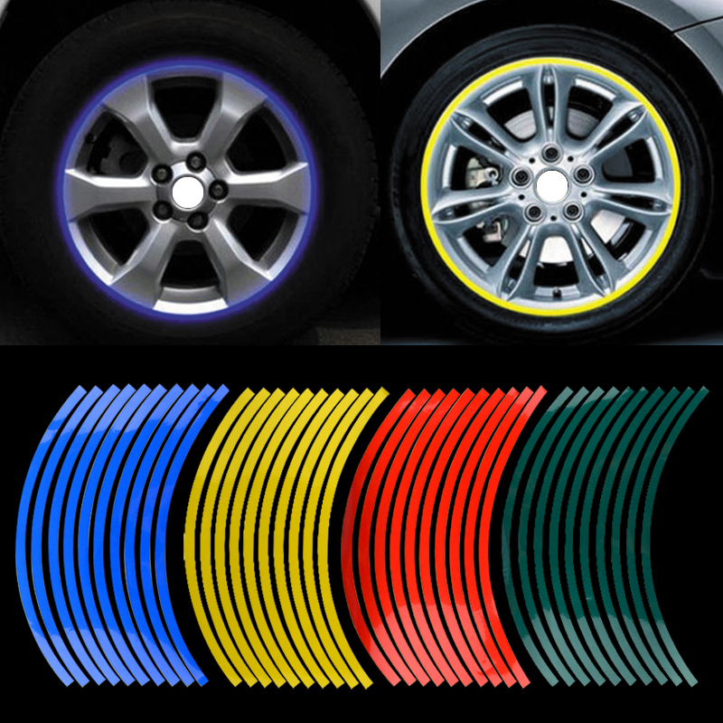 20pcs Strips Motorcycle Car Sticker Wheel Tire Stickers Reflective Rim Tape motorcycle Car
