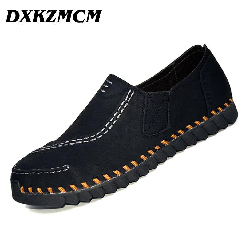 DXKZMCM Men Causal Shoes Genuine Leather Slip On Men Shoes High Quality Handmade Men Retro Casual Shoes dxkzmcm new men flats cow genuine leather slip on casual shoes men loafers moccasins sapatos men oxfords