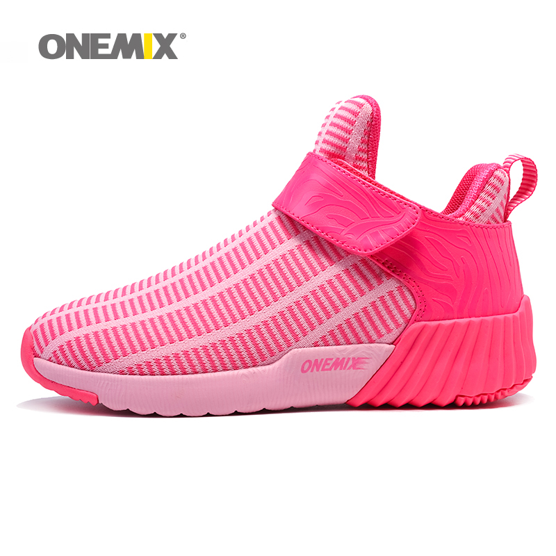 ONEMIX 2018 Woman Running Shoes for Women High Top Mesh Breathable Trail Sports Outdoor Pink Athletic Trainers Walking Sneakers onemix 2018 woman running shoes women nice trends athletic trainers zapatillas sports shoe max cushion outdoor walking sneakers