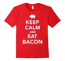 Shirt Maker O-Neck Keep Calm And Eat Bacon Short Sleeve Compression T Shirts For Men
