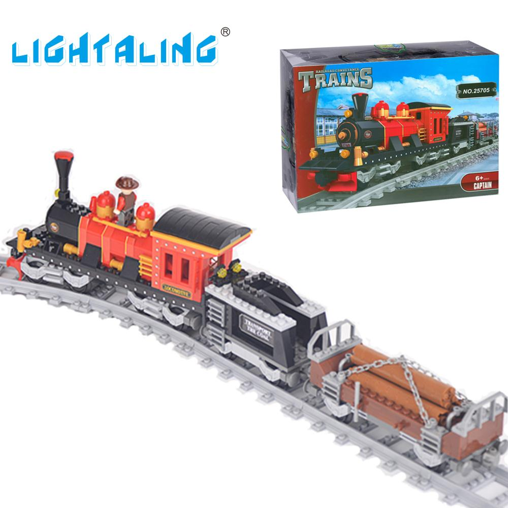 Lightaling Building Blocks Classical Train Set DIY Bricks 410pcs Children Model Toys Christmas Gift lightaling led light set compatible with brand camping van 10220 building model creator decorate kit blocks toys