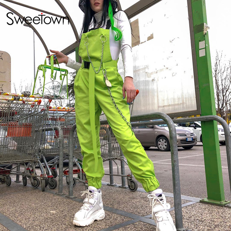 Sweetown Fluorescent Green Streetwear Strap Jumpsuit Women Black Metal Chain Patchwork Backless Cotton Rompers Womens Jumpsuit