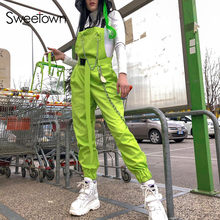 Sweetown verde fluorescente Streetwear Correa mono mujer cadena metálica negra Patchwork Backless algodón mamelucos mujer mono(China)