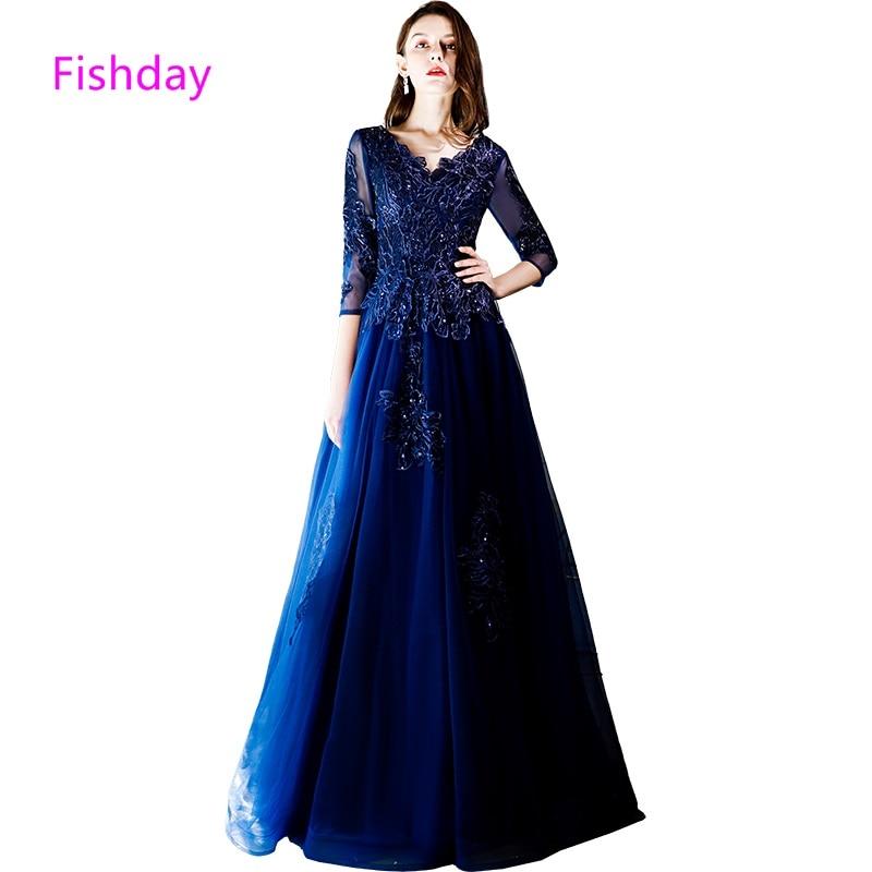 2019 Fashion Fishday Navy Blue Sleeved Lace Evening Dress Women Elegant Formal Party Abendkleider Mother Of Bride Robe De Soiree Sale D20