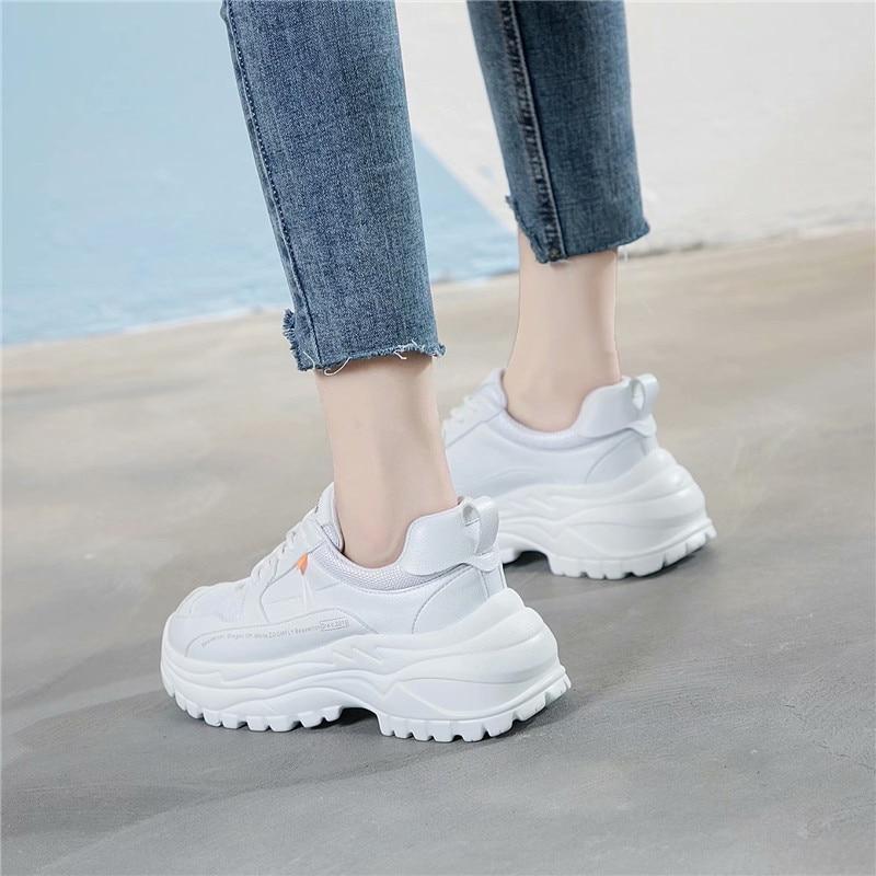 De forme Chaussure blanc Terre Marque Étoile Qualité Femmes Véritable Mode Cuir Baskets Blanches En Femelle Plate Respirant Automne La Dame Chaussures Beige OZiXPku
