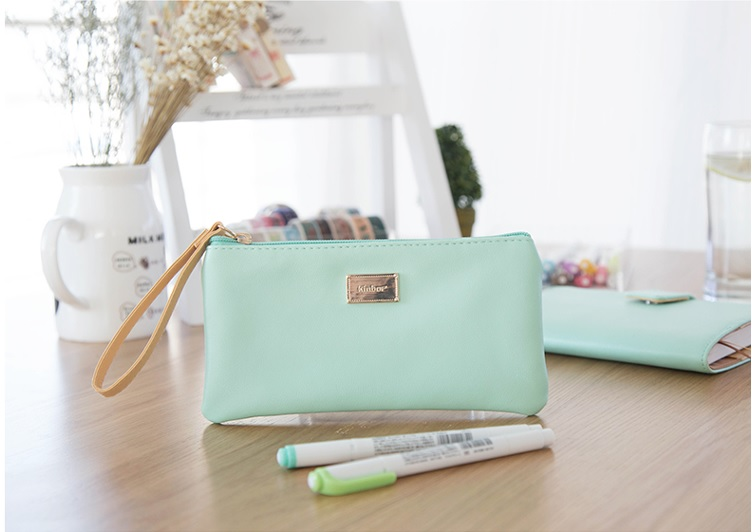 macaron fashion multifunction PU leather pencil pen case stationery pouch cosmetic makeup bag pink blue green multifunction pu leather case satchel bag for iphone 4 4s 5 samsung i9300 green deep pink