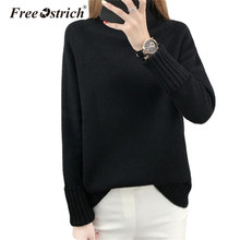 Free Ostrich Winter Knitted Sweater Women Turtleneck Long Sleeve Solid Women Sweaters and Pullovers Jumper D40