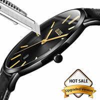 Ultra mince décontracté homme montre-bracelet en cuir noir hommes montres d'affaires Date Quartz homme montre étanche hommes horloge montre homme