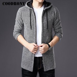 Image 2 - COODRONY Sweater Men Clothes 2019 Winter Thick Warm Long Cardigan Men With Hood Sweater Coat With Cotton Liner Zipper Coats H004