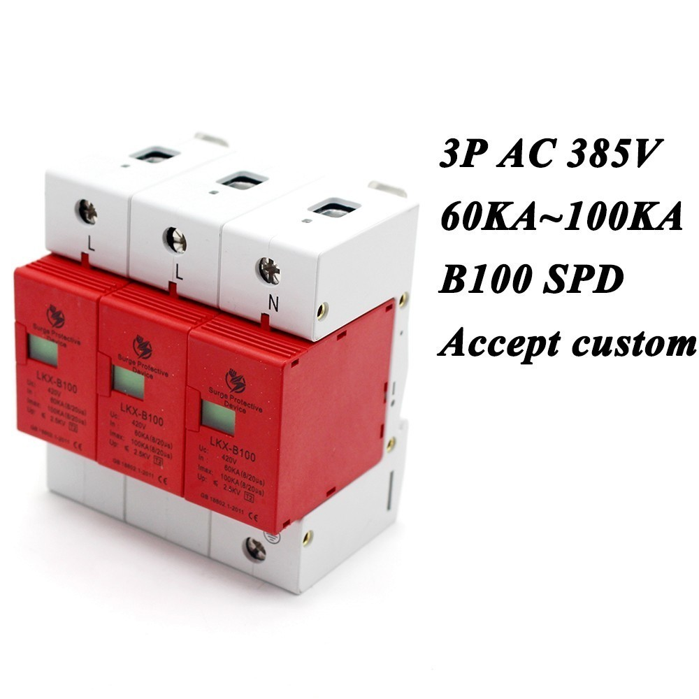 B100-3P 60KA~100KA ~385V AC 2P+N SPD House Surge Protector Protective Low-voltage Arrester Device Lightning protection [zob] hagrid spn465r surge protection device 4 65ka t2 grade imported 3p n lightning surge