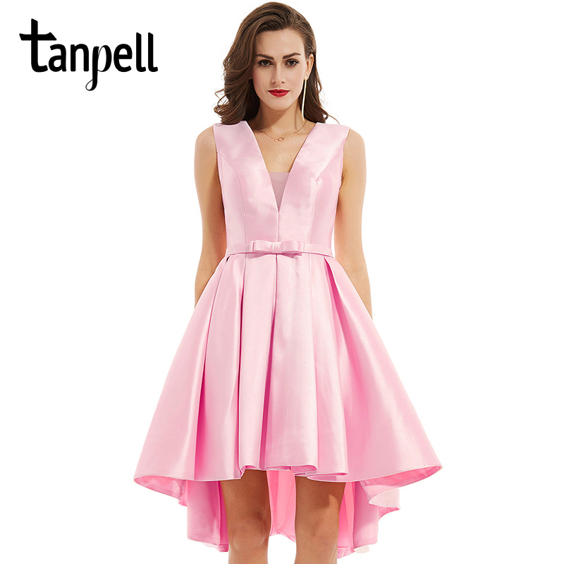 Tanpell v 목 칵테일 드레스 우아한 핑크 민소매 bowknot 무릎 길이 공 가운 여성 파티 짧은 칵테일 드레스